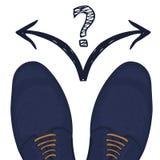 Concept d'affaires pour faire une sélection Pieds dans des chaussures masculines sur la route Vecteur Images stock