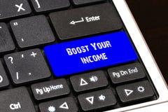 Concept d'affaires - poussée bleue votre bouton de revenu sur mince Image libre de droits