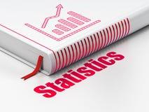 Concept d'affaires : réservez le graphique de croissance, statistiques sur le fond blanc Photographie stock libre de droits