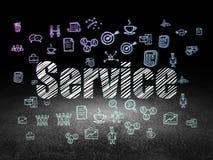 Concept d'affaires : Service dans la chambre noire grunge Photos stock