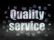 Concept d'affaires : Service de qualité dans la chambre noire grunge Photographie stock libre de droits