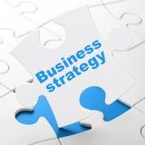 Concept d'affaires : Stratégie commerciale sur le fond de puzzle Photos stock