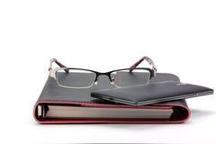 Concept d'affaires Stylo, carnet, calculatrice et verres Images libres de droits