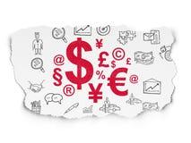 Concept d'affaires : Symbole de finances sur le papier déchiré Photos libres de droits