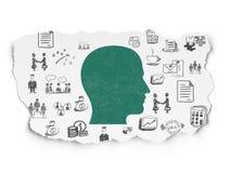 Concept d'affaires : Tête sur le fond de papier déchiré Photo libre de droits