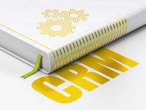 Concept d'affaires : vitesses de livre, CRM sur le fond blanc Photos libres de droits
