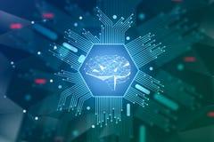 Concept d'AI, hologramme numérique bleu de cerveau illustration stock