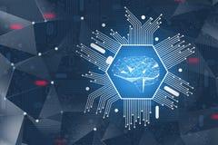 Concept d'AI, hologramme numérique de cerveau photos libres de droits