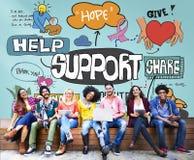 Concept d'aide de conseil d'aide d'aide de collaboration de soutien Images stock