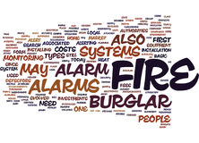 Concept d'Alarm Word Cloud de cambrioleur du feu Photographie stock