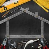 Concept d'amélioration de l'habitat - outils et Chambre de travail Photo libre de droits