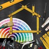 Concept d'amélioration de l'habitat - outils et Chambre de travail Images libres de droits