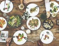 Concept d'amis de réunion de célébration de déjeuner Image libre de droits