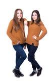 Concept d'amitié - le portrait intégral de la pose de deux filles est Photographie stock libre de droits
