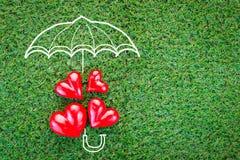 Concept d'amour avec des coeurs sur l'herbe verte Image stock