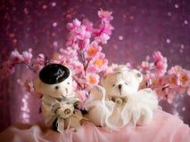Concept d'amour : Couples Teddy Bears dans la robe de mariage, valentine Image stock