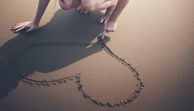 Concept d'amour de plage de voyage de femme Photo libre de droits