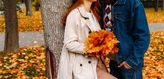 Concept d'amour, de relations, de famille et de personnes - fermez-vous des ajouter à la feuille d'érable embrassant en parc d'au photo stock