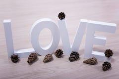 Concept d'amour et d'hiver - lettres et cônes en bois de pin Image stock