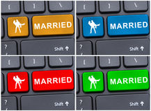 Concept d'amour et de couples avec le bouton marié Image stock