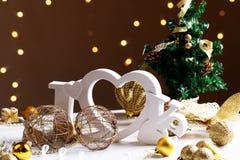 Concept d'amour et d'hiver - lettres en bois Photo stock