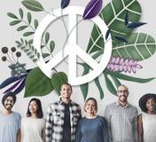 Concept d'amour hippie heureux de paix rétro Photographie stock