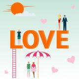 Concept d'amour Inscription, couple dans l'amour Vecteur Image stock