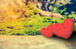 Concept d'amour pour le jour du ` s de Valentine Deux coeurs rouges sur la roche au-dessus du MOIS Photo stock