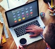 Concept d'ampoule de profil de dossier d'icônes d'affaires Photo stock
