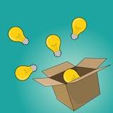 Concept d'ampoule en dehors de la boîte en tant que concept créatif et de direction Photographie stock libre de droits