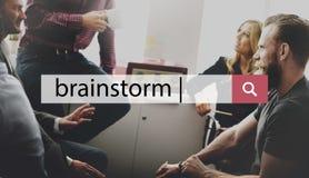 Concept d'analyse de planification d'échange d'idées de séance de réflexion Photos stock