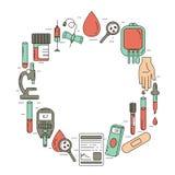 Concept d'analyse de sang Illustration de vecteur avec des articles d'analyse de sang illustration libre de droits