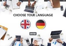 Concept d'anglais-allemand de dictionnaire de langue Photographie stock libre de droits