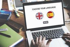 Concept d'anglais-espagnol de dictionnaire de langue Image stock