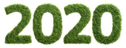 concept d'année d'écologie de l'herbe 2020 verte d'isolement Photo stock