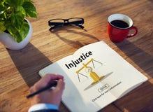 Concept d'antagonisme de rébellion de conflit d'injustice d'injustice Image stock
