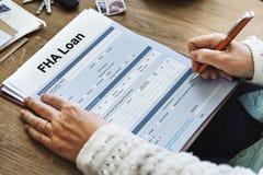 Concept d'application de forme d'hypothèque d'emprunt de FHA Photographie stock