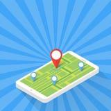 Concept d'application de jeu Navigation de carte de généralistes avec l'écran de téléphone Illustration de vecteur Image stock
