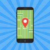 Concept d'application de jeu Navigation de carte de généralistes avec l'écran de téléphone Illustration de vecteur Images stock