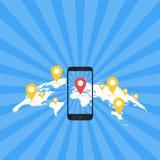 Concept d'application de jeu Navigation de carte de généralistes avec l'écran de téléphone Illustration de vecteur Images libres de droits