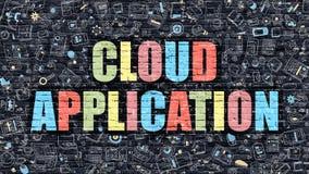 Concept d'application de nuage Multicolore sur Brickwall foncé Images libres de droits