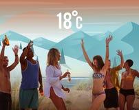 Concept d'application de prévisions météorologiques de saison de temps illustration stock