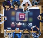 Concept d'application de technologie de statistiques de comptabilité Images libres de droits