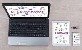 Concept d'apprentissage en ligne sur différents dispositifs images stock
