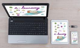 Concept d'apprentissage en ligne sur différents dispositifs photographie stock libre de droits