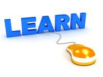 Concept d'apprentissage sur internet au-dessus de blanc Images libres de droits