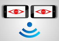 Concept d'apps d'espion de téléphone portable Photographie stock