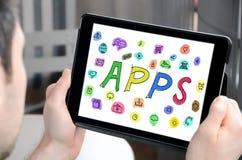 Concept d'Apps sur un comprimé Photos libres de droits