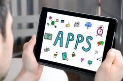 Concept d'Apps sur un comprimé Images stock