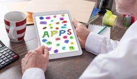 Concept d'Apps sur un comprimé Photo libre de droits